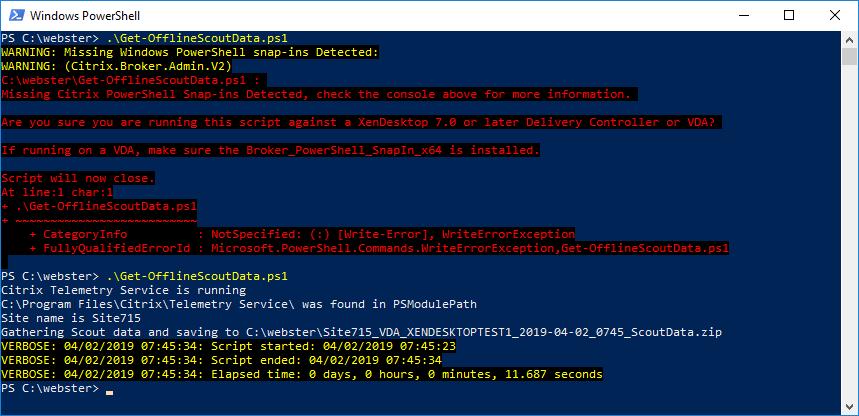 Figure 6 - Rerunning the script on the Windows 10 VDA