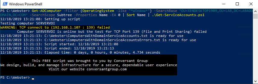"""Figure 3 (Get-ADComputer -Filter {OperatingSystem -like """"*window*""""} -SearchBase """"OU=XENDESKTOP1909,OU=LAB,DC=LABADDOMAIN,DC=COM"""" -SearchScope Subtree -Properties Name -EA 0 